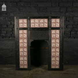 Stunning 19th C Ornate Cast Iron Fireplace with Pristine Tiles