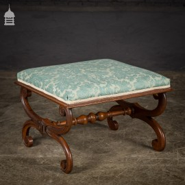 19th C Mahogany X-Frame Upholstered Footstool