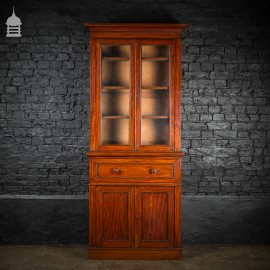 19th C Glazed Mahogany Bookcase Cabinet Bureau with Drawers and Key