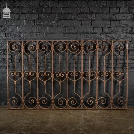 Early 19th C Decorative Wrought Iron Railing with Scroll Design