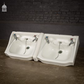 Pair of Interlocking Wash Hand Basins His and Hers Double Basin
