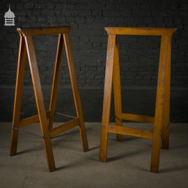 Pair of Oak Trestles Coffin Stands