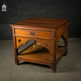 19th C Gothic Pitch Pine Hall Table with Drawer