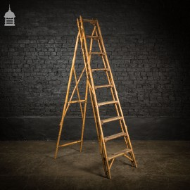 19th C Folding Bamboo and Pine A-Steps Ladder