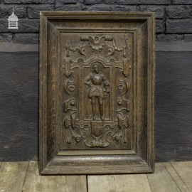 16/17th C Carved Oak Plaque of Military Gentleman