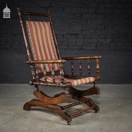 Turned Mahogany and Fabric Rocking Chair