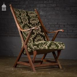 19th C William Morris Oak X-Frame Chair