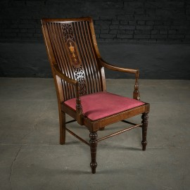 Edwardian Inlaid Mahogany Chair with Turned Legs