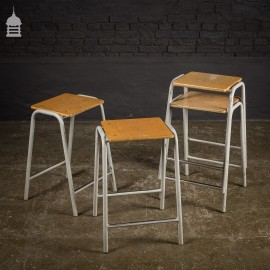 Set of 4 Vintage Steel Framed Stackable School Lab Stools - 11 sets available