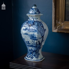 18th C Blue and White Delft Urn with Fisherman