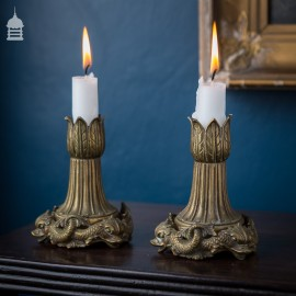 Pair of Victorian Brass Dolphin Nautical Candle Sticks