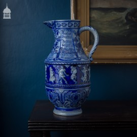 Large Westerwald Blue and White Jug with Months of the Year
