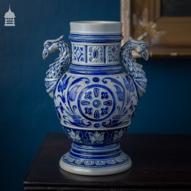 Westerwald Blue and White Vase with Phoenix Handles
