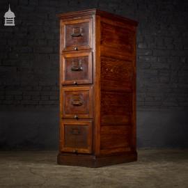 1920's Solid Oak 4 Drawer Filing Cabinet