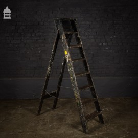 Vintage Industrial Fabrications Shop Ladder A-Steps with Splattered Paint Finish