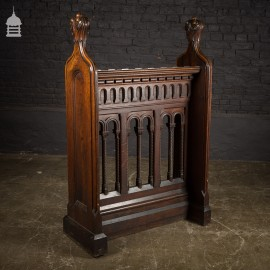 19th C Carved Oak Prayer Stand Lectern with Finials