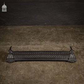 Small Decorative Victorian Cast Iron Fireplace Fender