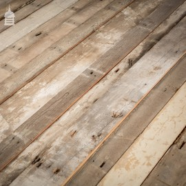 Batch of 14 Sqms of Mixed Width and Thickness Pitch Pine Wall Cladding with Distressed White Wash Finish