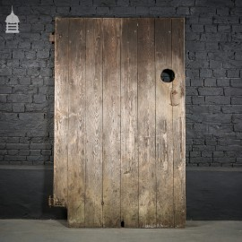Tall Pine Ledged and Braced Barn Door with Hole