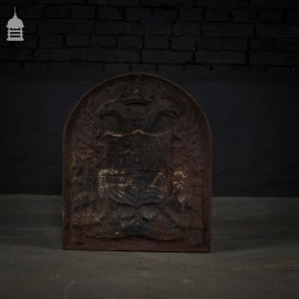 Cast Iron Fire Back with Crown and Shield Design