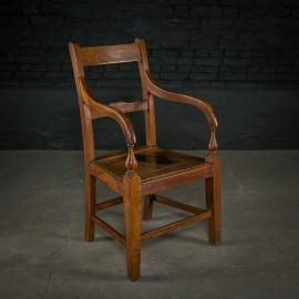 19th C Mahogany Arm Chair with Turned Detail
