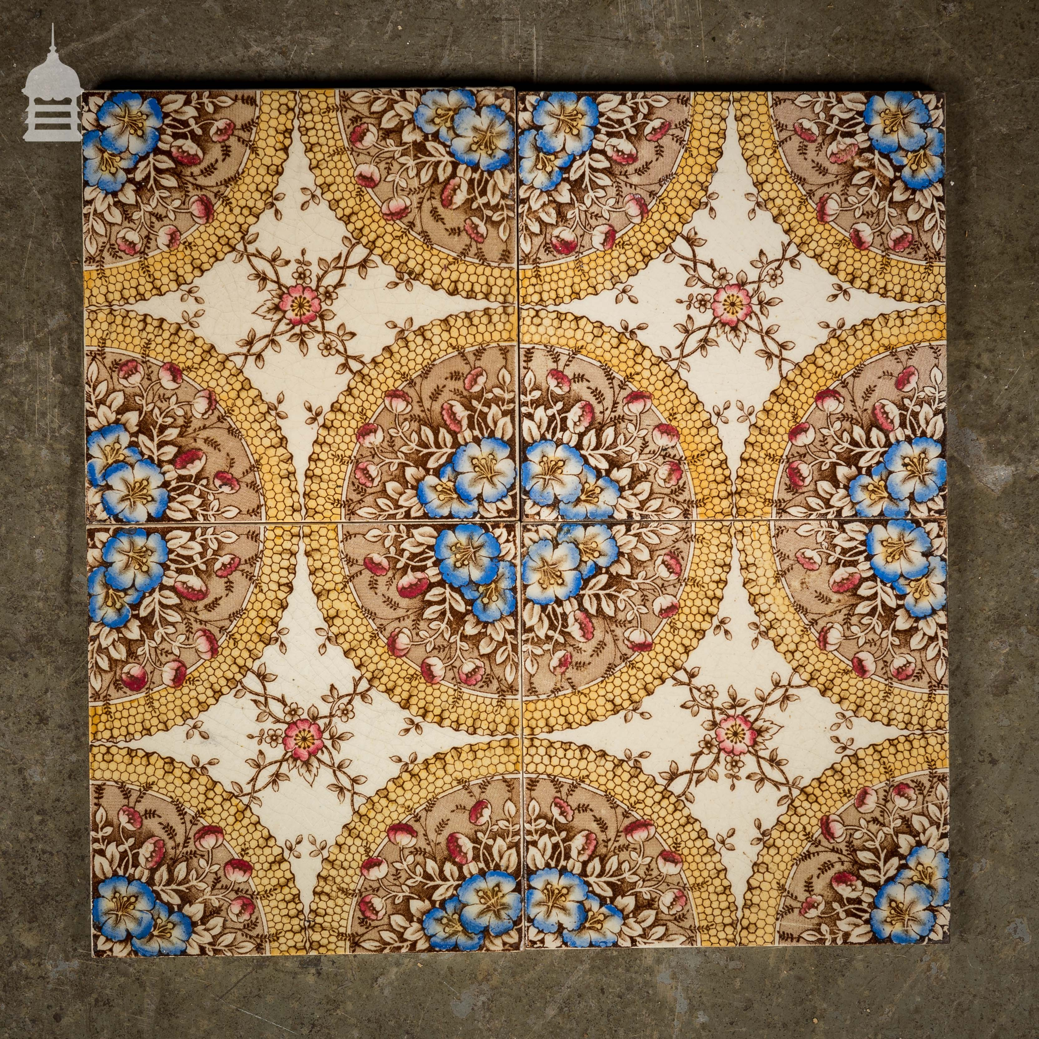 Set of 4 decorative arts and crafts tiles 6x6 for Arts crafts tiles