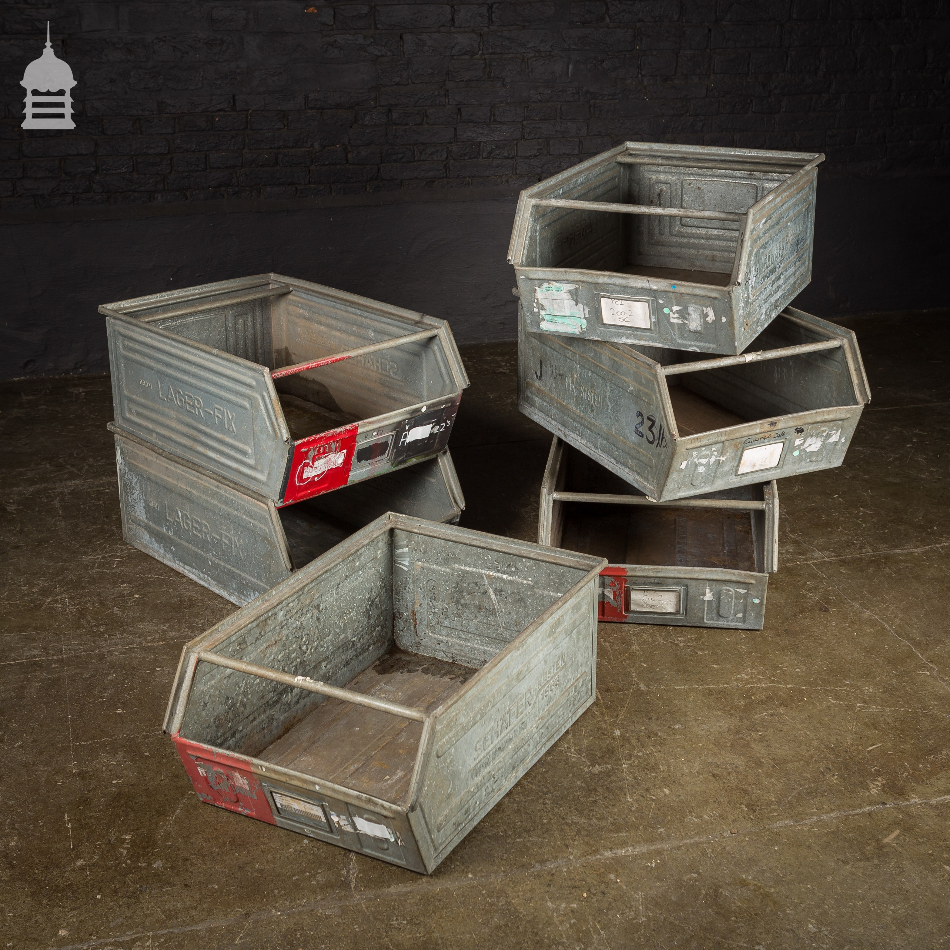 Industrial Stacking Containers : Industrial galvanised stackable storage bins drawers