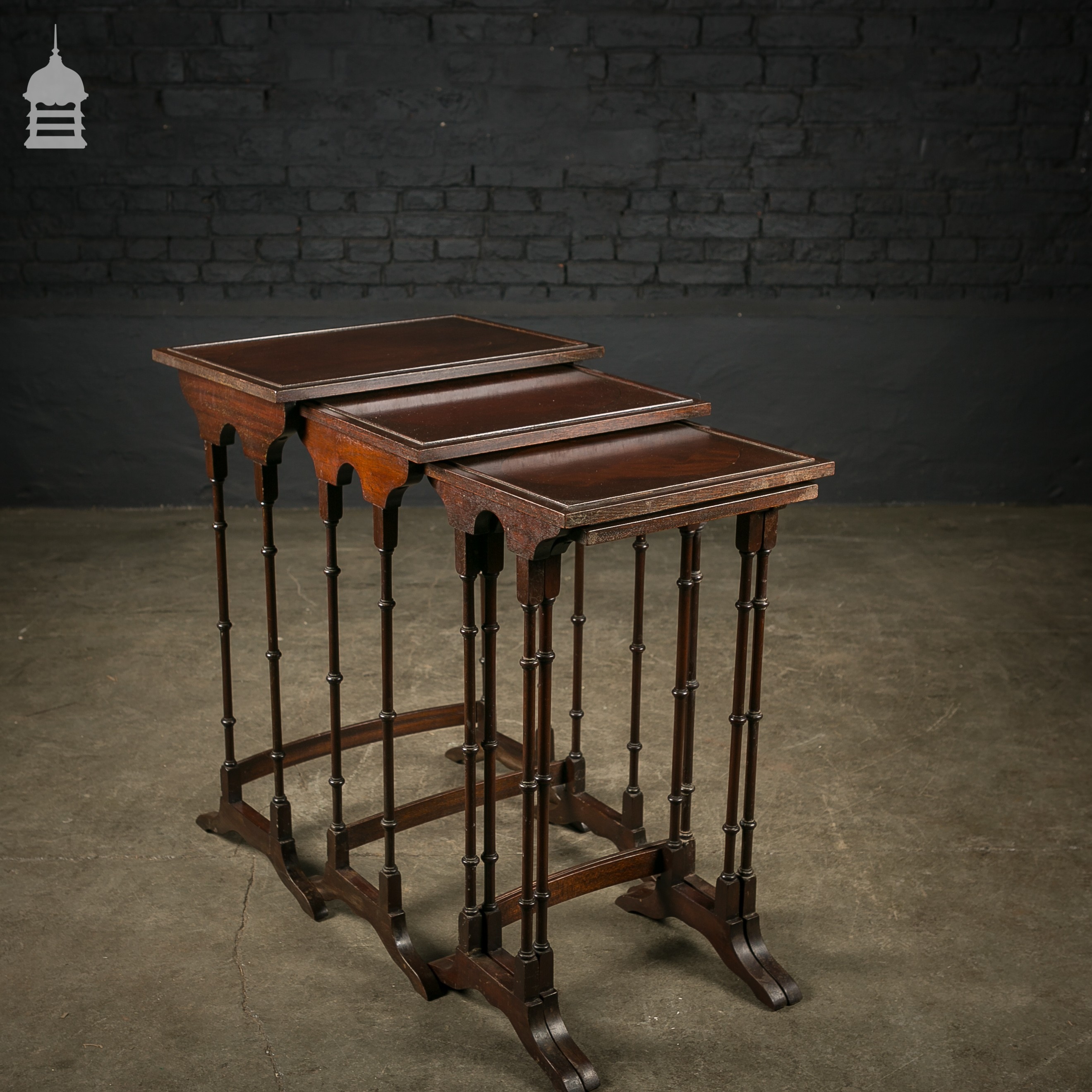 Set Of 4 Mahogany Nesting Tables With Turned Legs. Full resolution‎  image, nominally Width 2640 Height 2640 pixels, image with #AE4D06.