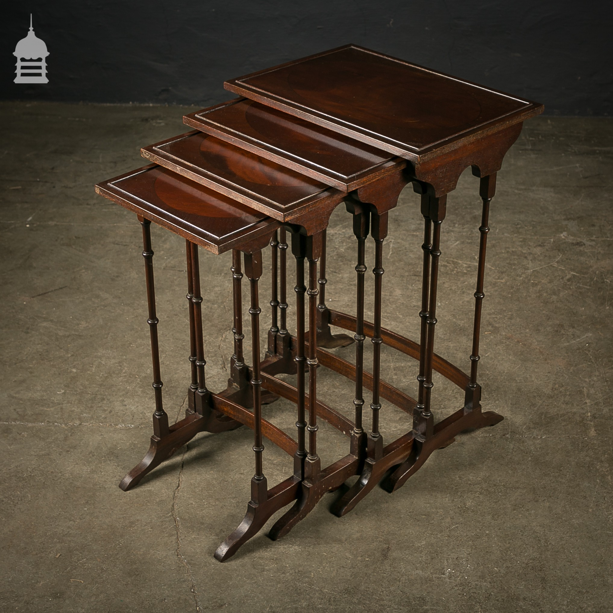Set Of 4 Mahogany Nesting Tables With Turned Legs. Full resolution‎  image, nominally Width 2034 Height 2034 pixels, image with #8F5F3C.