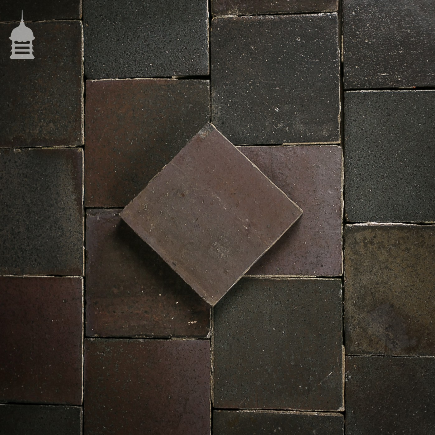 Reclaimed 9 Inch x 9 Inch Staffordshire Blue Black 9x9 Quarry Tiles ...