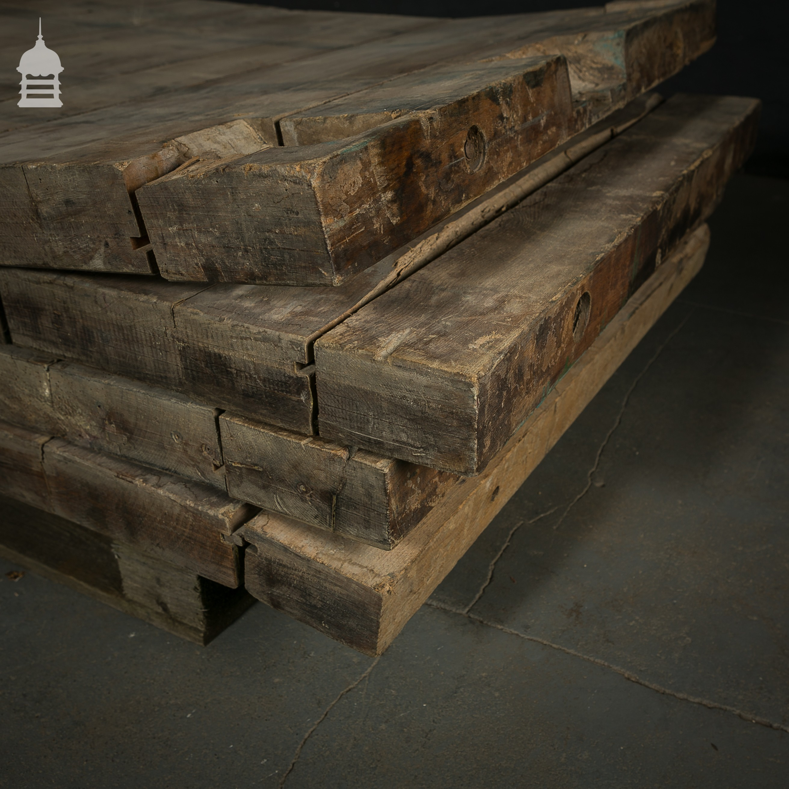 Rustic beech tops from a victorian mill beams joists