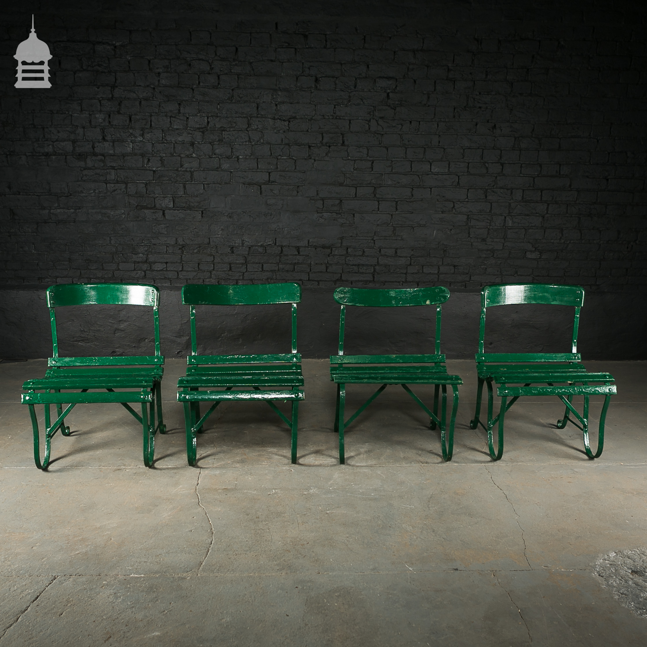4 Wrought Iron Garden Chairs with Hardwood Slats