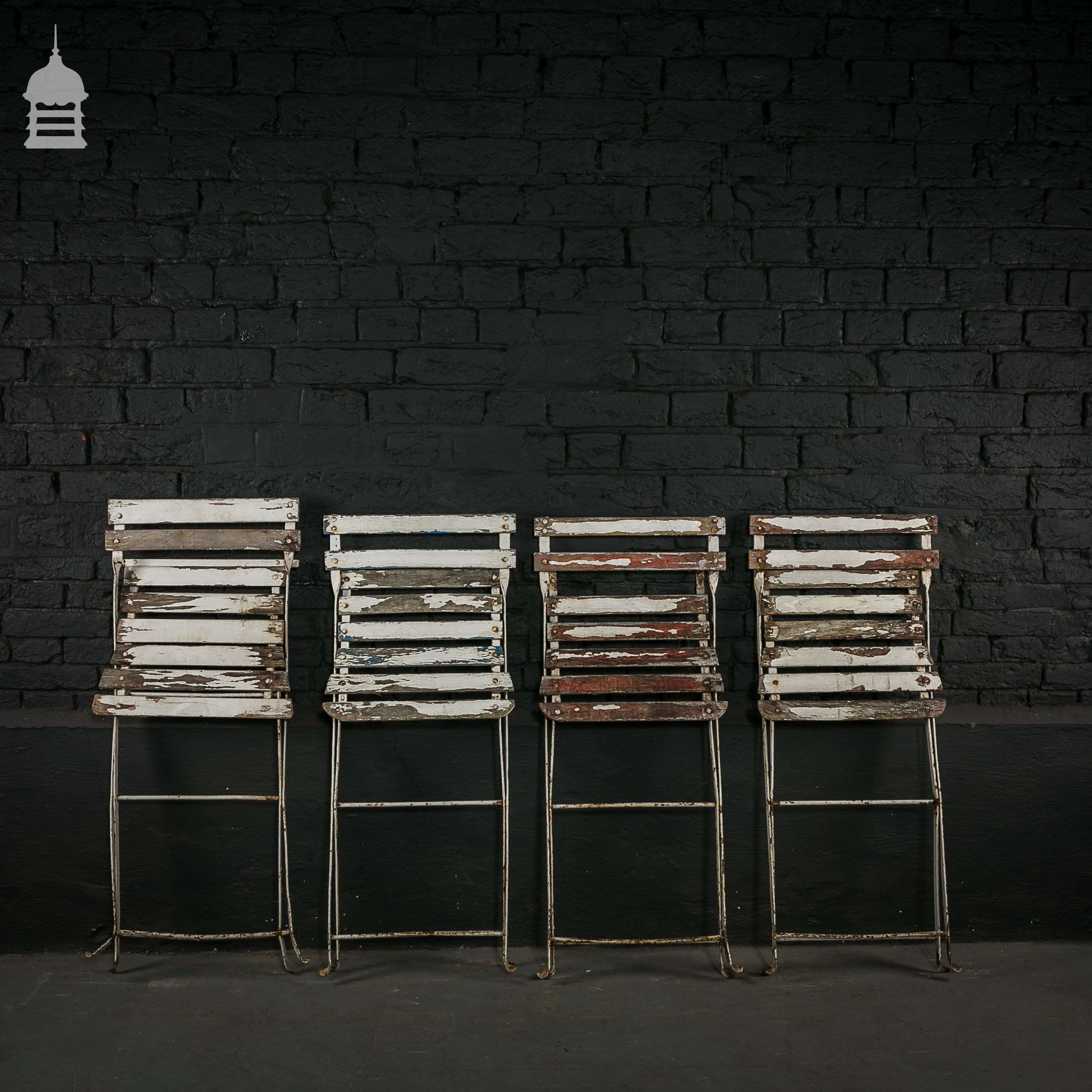Set of Four Folding Garden Chairs made of Iron with Hardwood Slats