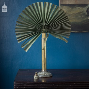 Victorian Privacy Shield Fan in a Decorative Brass Stand