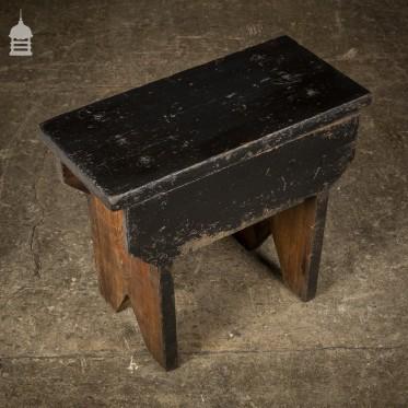 Vintage Pine Industrial Factory Stool Seat