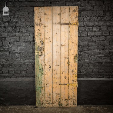 19th C Pine Internal Ledged and Braced Cottage Door with Distressed Paint Finish