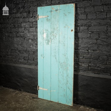 Small 19th C Light Blue Painted Ledged and Braced Pine Internal Cottage Door