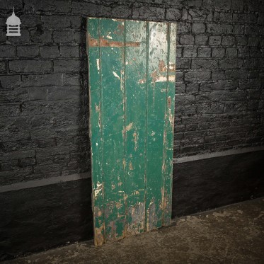 Small 19th C Green Painted Ledged and Braced Pine Internal Cottage Door