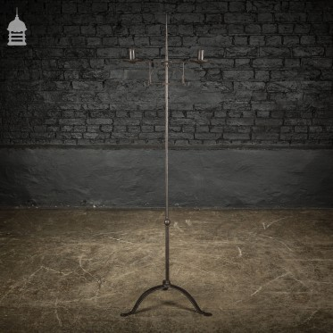 18th C Handmade Wrought Iron Adjustable Candelabra Candle Stand