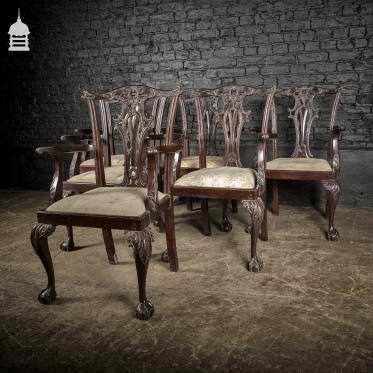 Set of Six Ornate Chippendale Revival Dining Chairs Armchairs Circa 1900