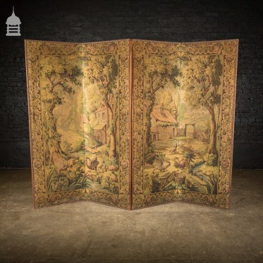 Edwardian Folding Tapestry Screen Room Divider