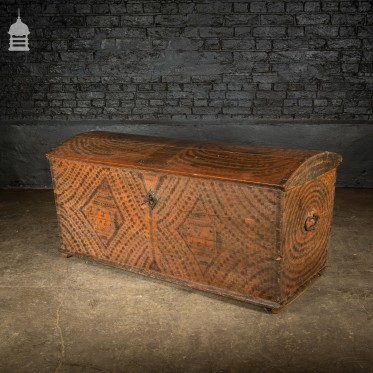 Dome Topped Pine Marriage Chest with Painted Finish Dated 1813