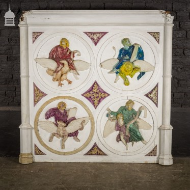 19th C Plaster and Gesso Panel of the Four Evangelists Matthew Mark Luke and John