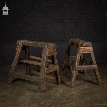 Pair of Vintage Industrial Wooden Work Horses Trestles Stands
