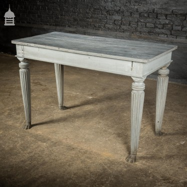 18th C Grey Painted Hardwood Colonial Centre Table with Reeded Legs and Bronze Paw Feet