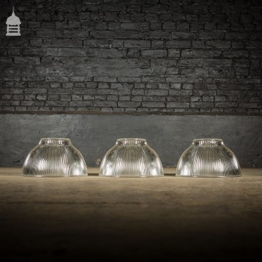 Batch of 3 Industrial Holophane Endural No. 653-5 Ridged Glass Factory Light Shades