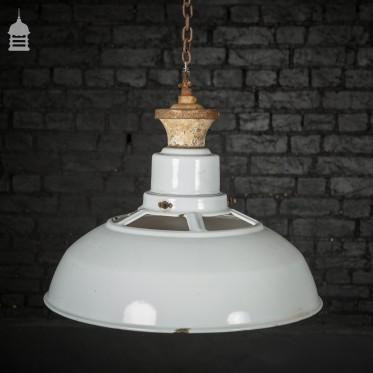 Vintage White Enamelled Pendant Light Shade