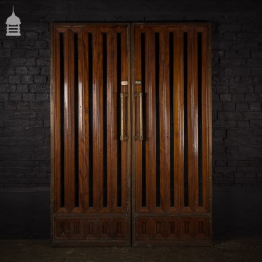Pair of Edwardian Solid Oak Glazed Double Doors with Brass Handles and Trim