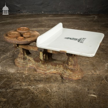 Set of 19th C Weighing Scales by Josiah Fisher & Son Banham with Ceramic Tray and Assorted Weights