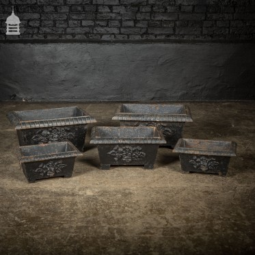 Set of 5 Victorian Cast Iron Planters with Rose and Thistle Design